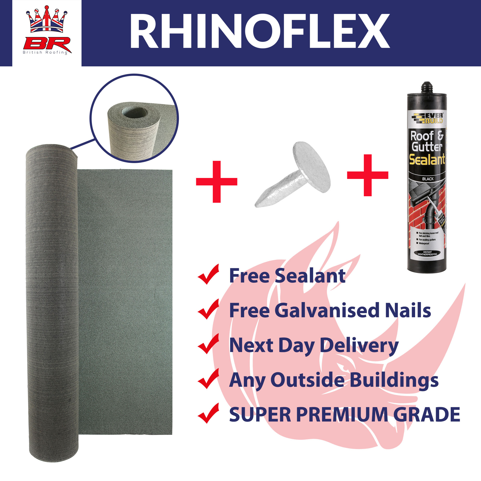 Rhinoflex Heavy Duty Shed Felt With Adhesive Amp Nails 3m