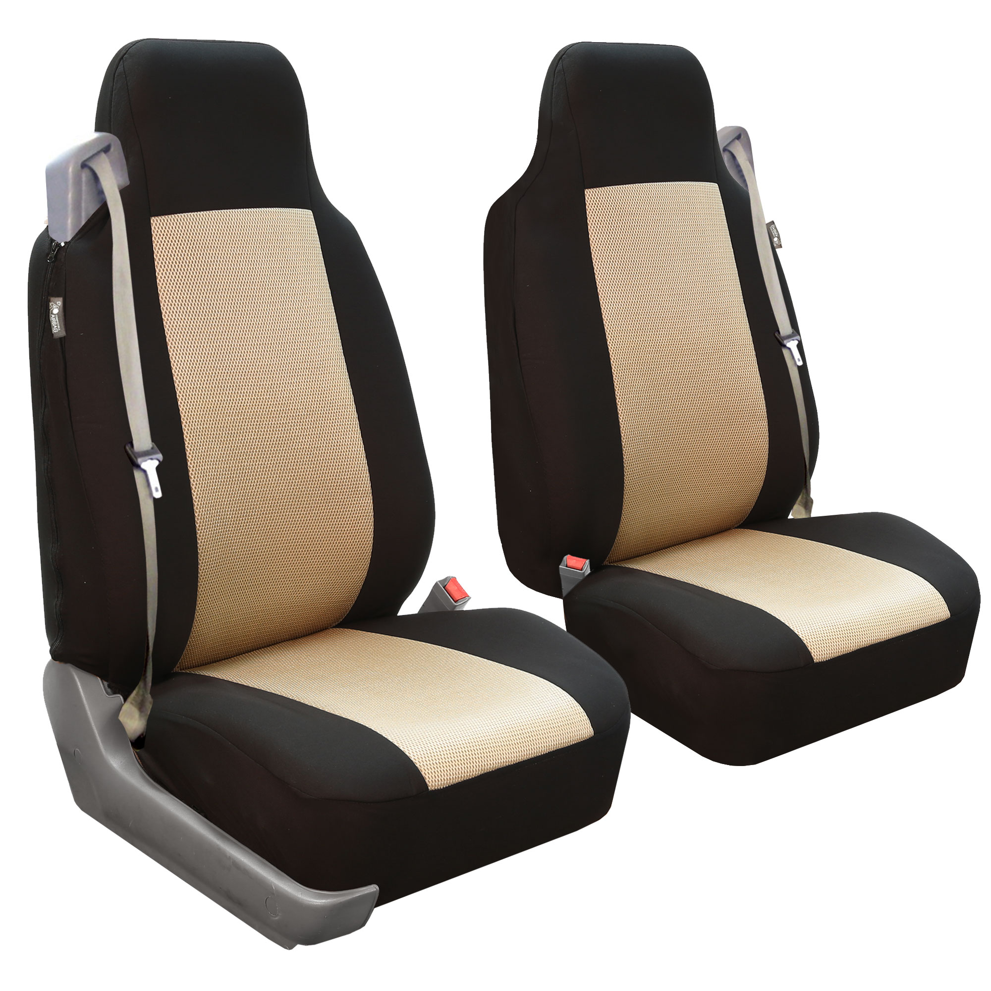 Swell Details About Car Seat Covers For Integrated Seat Belts Built In Seat Belt Beige Black Caraccident5 Cool Chair Designs And Ideas Caraccident5Info