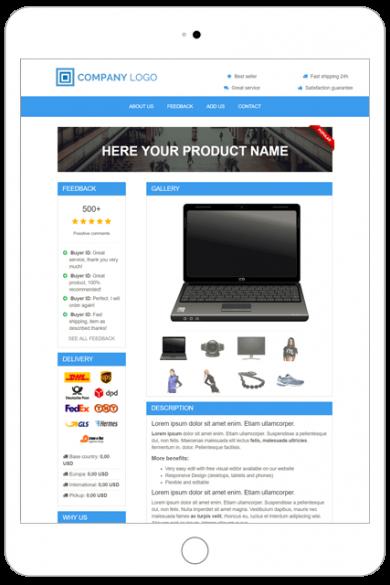 ebay premium listing template TU05-BLUE